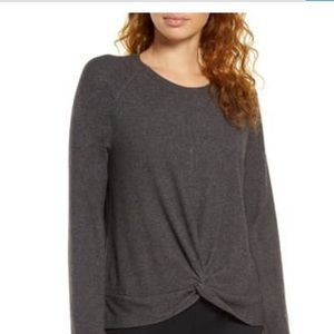 NWT H by Bordeaux gray brushed long sleeve top M